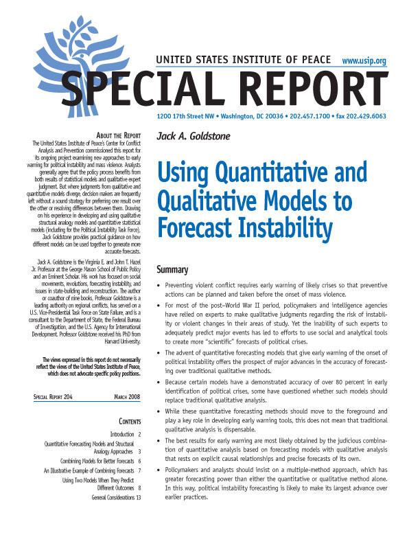 Special Report: Using Quantitative and Qualitative Models to Forecast Instability