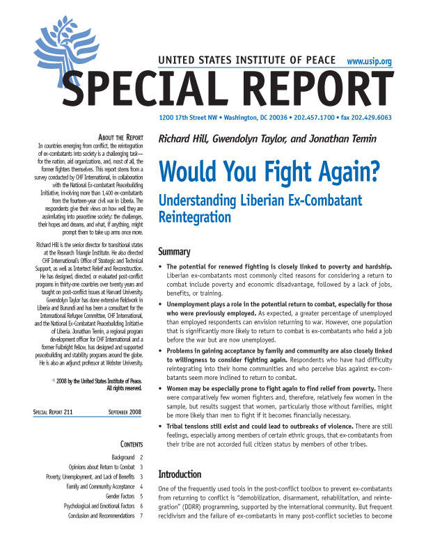 Special Report: Would You Fight Again?: Understanding Liberian Ex-Combatant Reintegration