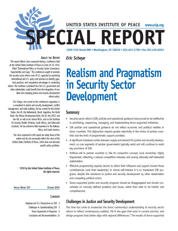 Special Report: Realism and Pragmatism in Security Sector Development