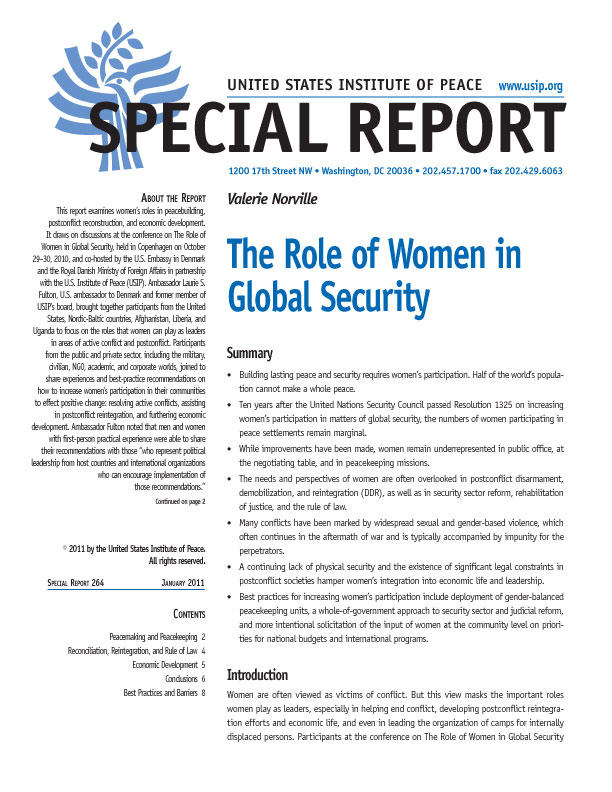 Special Report: The Role of Women in Global Security