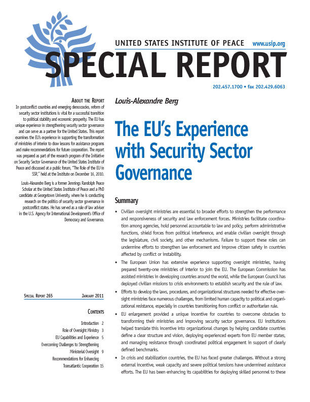 Special Report: The EU's Experience with Security Sector Governance