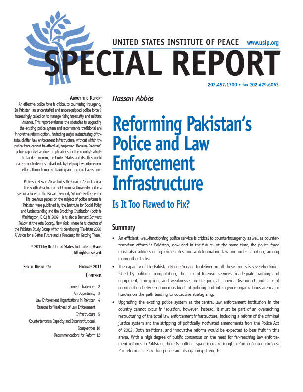 Special Report: Reforming Pakistan's Police and Law Enforcement Infrastructure