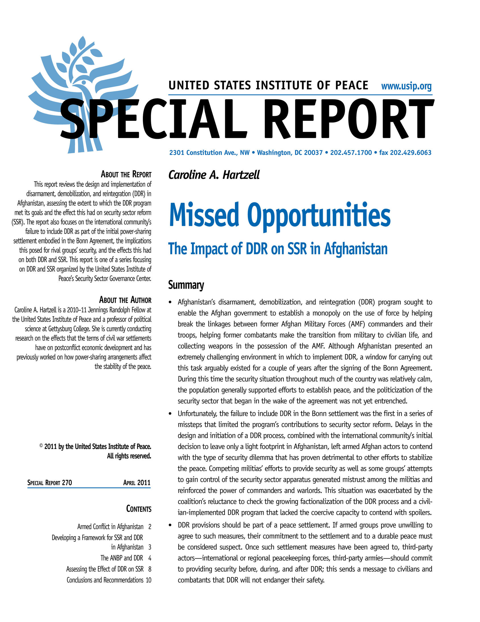 Missed Opportunities | United States Institute of Peace
