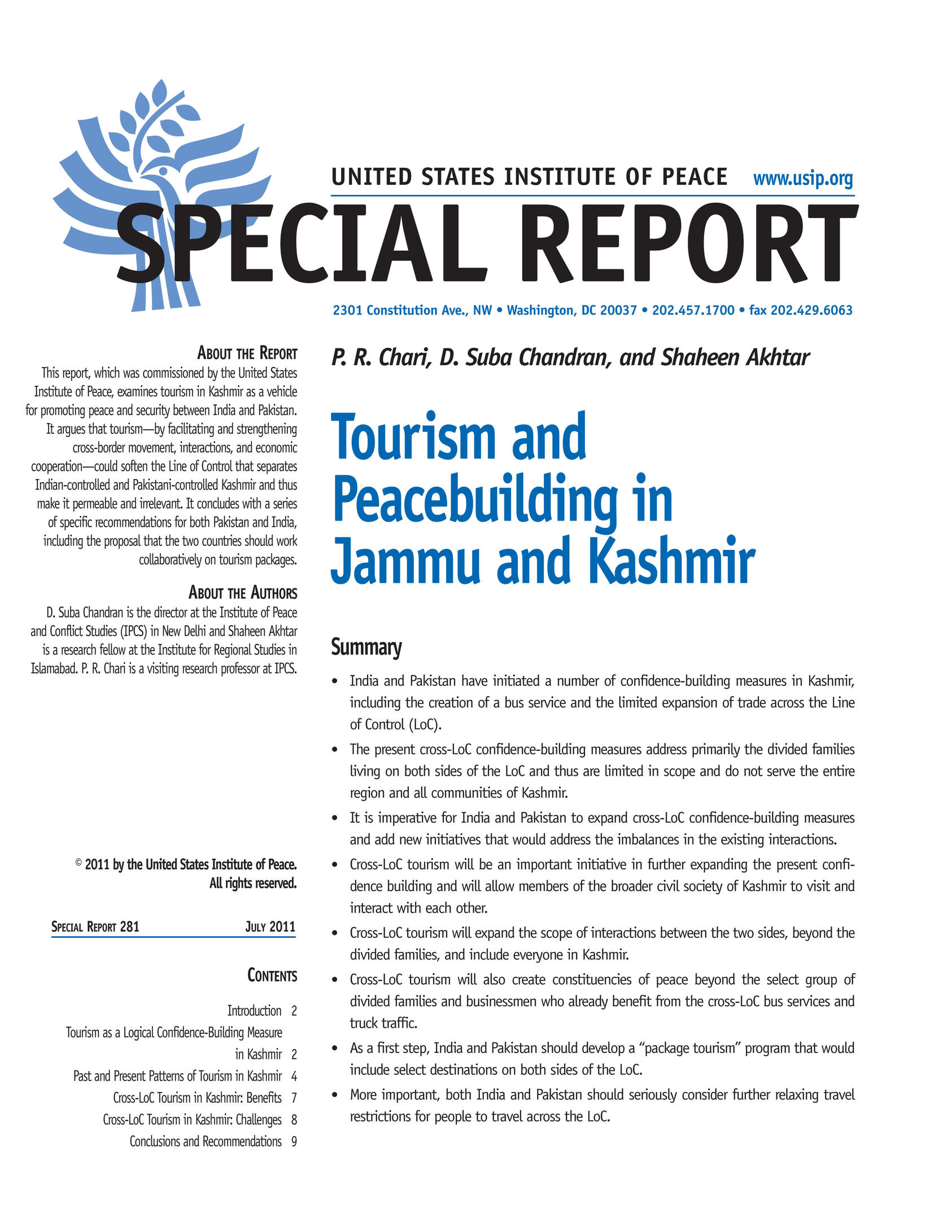 Economic Consequences of Tourism in Jammu and Kashmir
