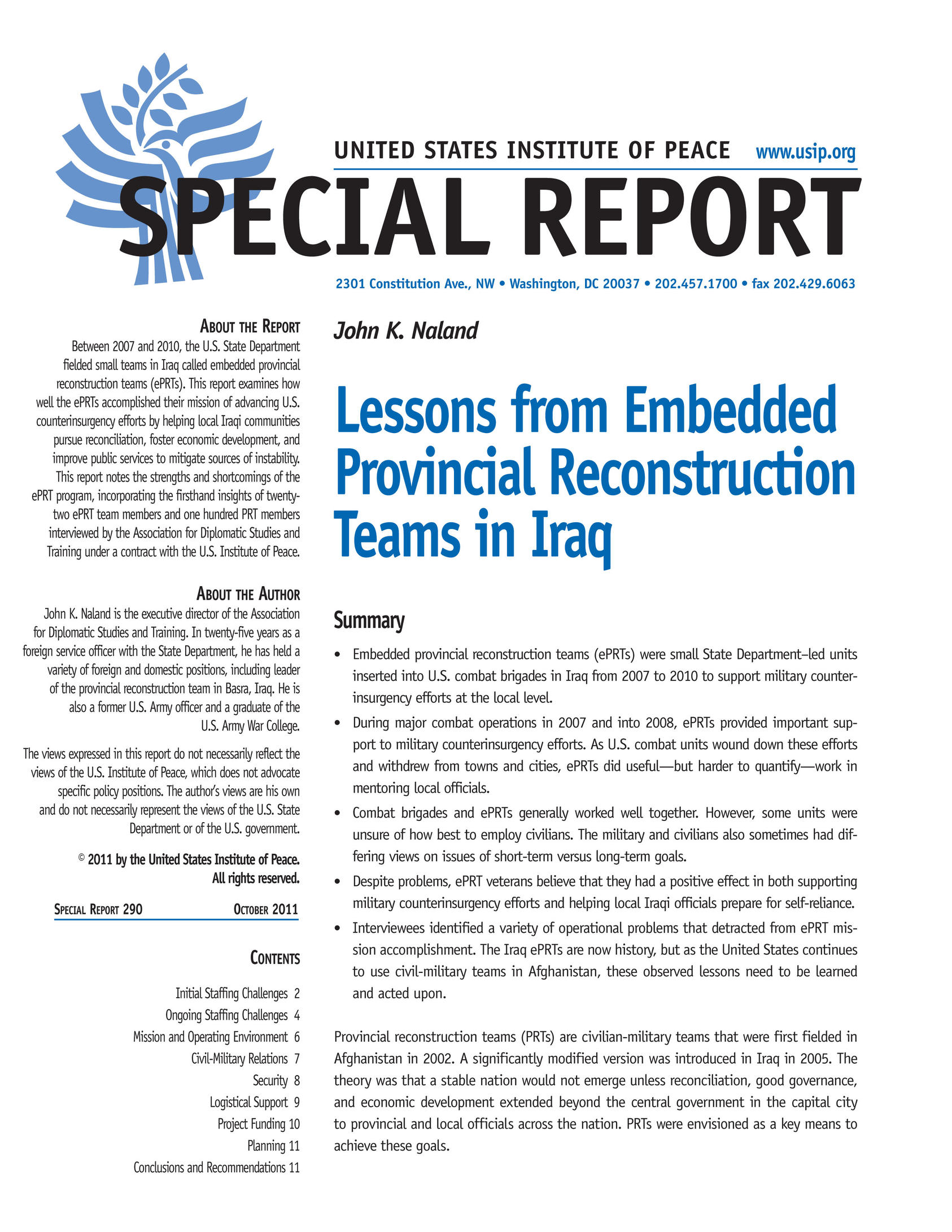 lessons from embedded provincial reconstruction teams in 290