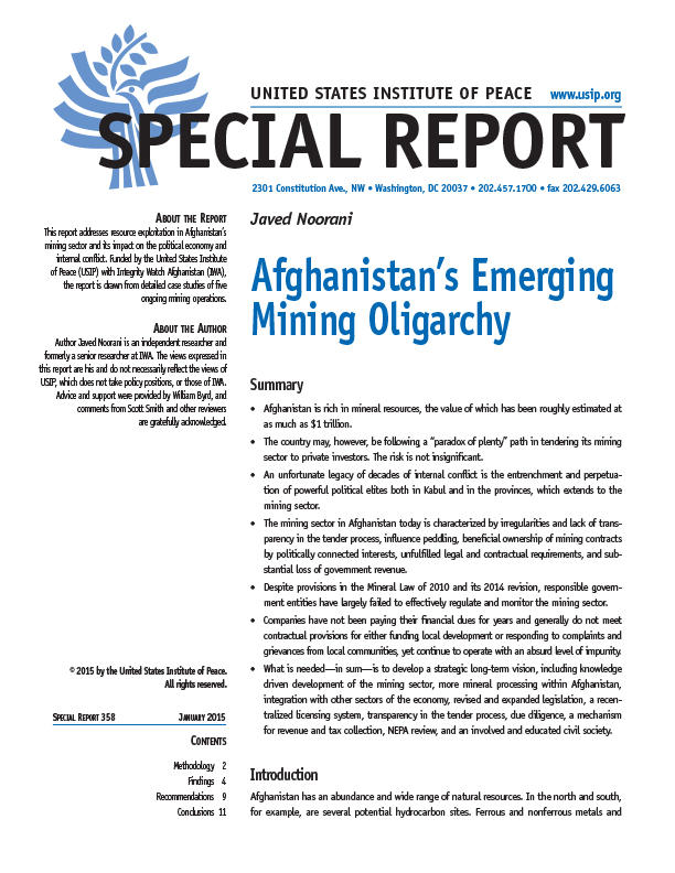 Afghanistans Emerging Mining Oligarchy United States Institute Of