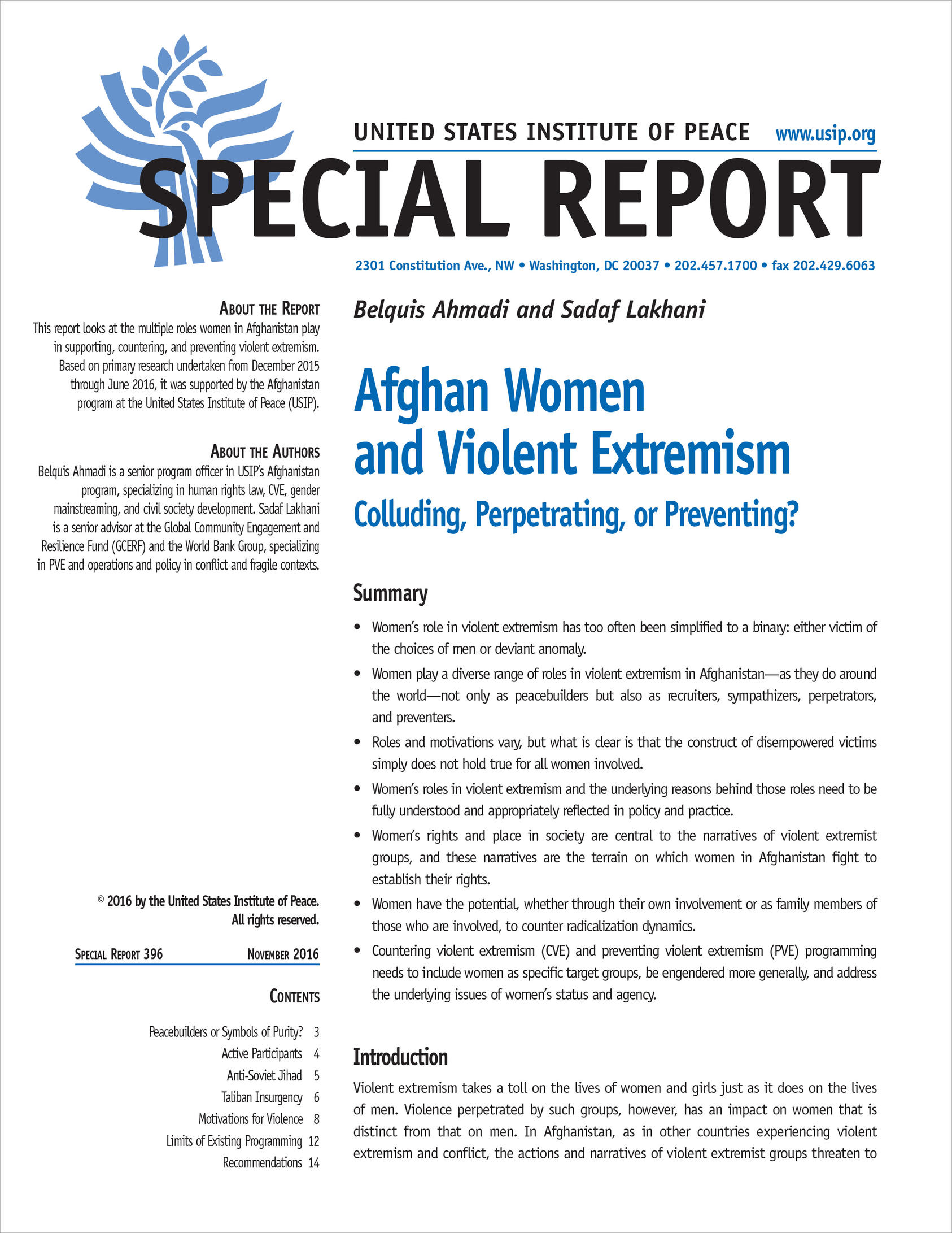Afghan Women And Violent Extremism United States Institute Of Peace