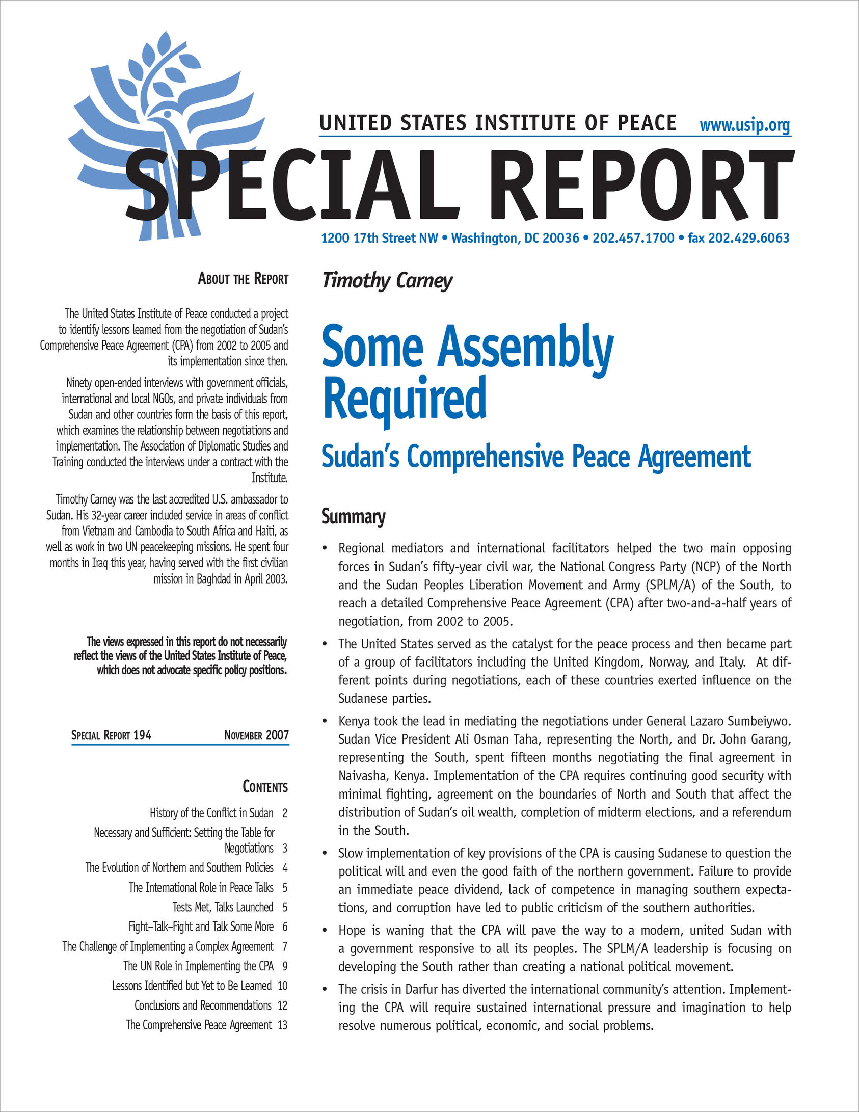 Some Assembly Required Sudans Comprehensive Peace Agreement