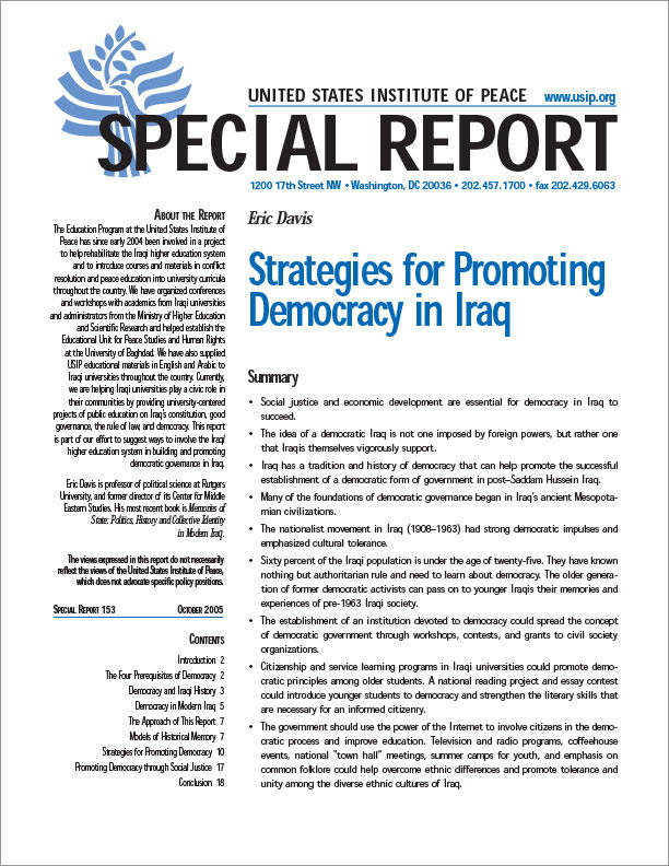 Strategies for Promoting Democracy in Iraq | United States