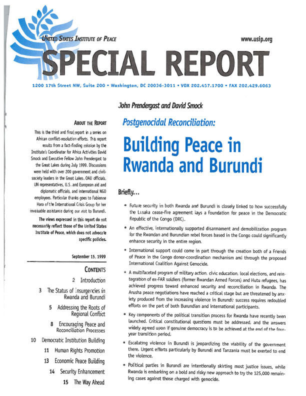 Post Genocidal Reconciliation Building Peace In Rwanda And Burundi