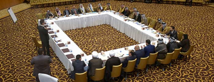 """USIP-supported facilitators guide a dialogue among Iraqi tribal leaders over a 2014 massacre at the Camp Speicher military base by the """"Islamic State"""" extremist group."""