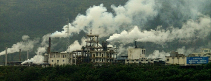 A Factory in China at Yangtze River.