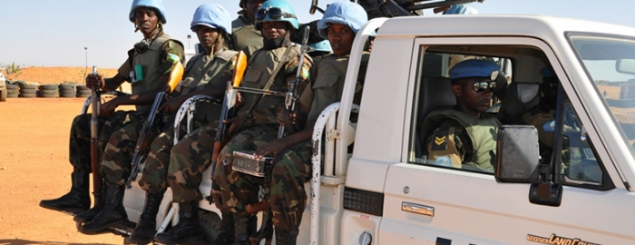 UN peacekeepers on truck