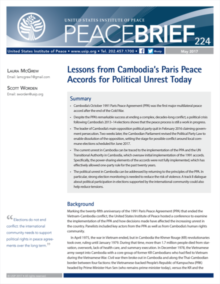 Lessons From Cambodias Paris Peace Accords For Political Unrest
