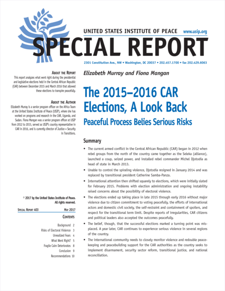 The 2015–2016 CAR  Elections, A Look Back Cover