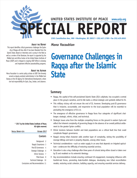 cover for Governance Challenges in Raqqa after the Islamic State Special Report