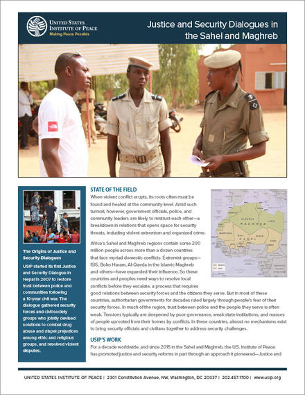 Justice and Security Dialogues in  the Sahel and Maghreb fact sheet cover