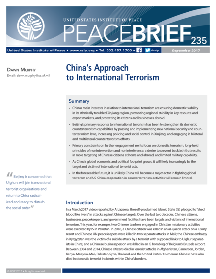 cover for China's Approach to International Terrorism Peace Brief