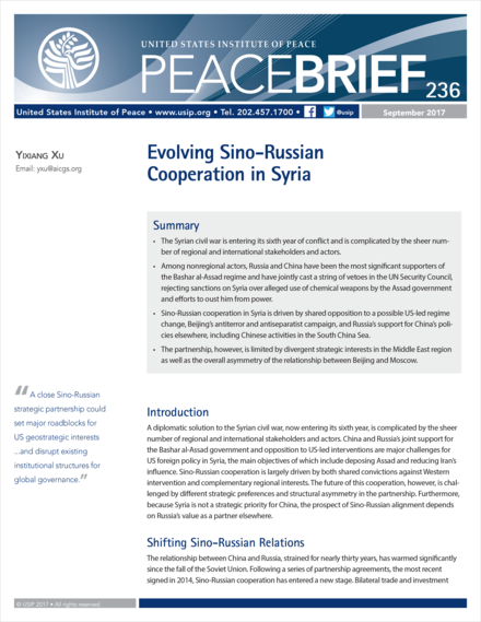 Evolving Sino-Russian Cooperation in Syria Peace Brief