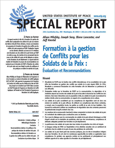 Special Report on Conflict Management Training for Peacekeepers French in French cover