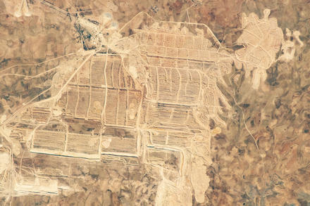 Morocco's Bou Craa mine in the Western Sahara earns export income from phosphates, which are vital for fertilizer. (NASA)