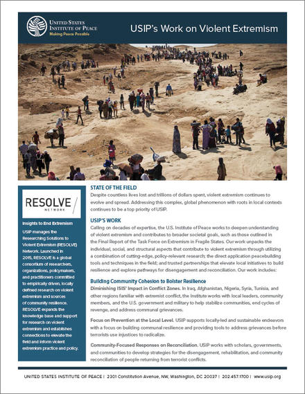USIP's Work on Violent Extremism fact sheet cover