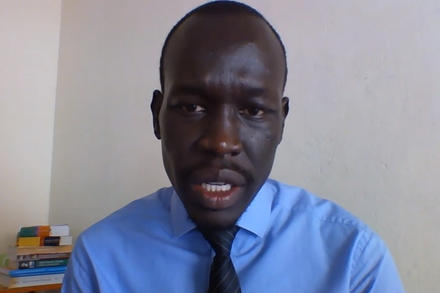 From rural Uganda, Gatwal Gatkuoth delivers a video message for a U.N. Security Council meeting in April. (YouTube)