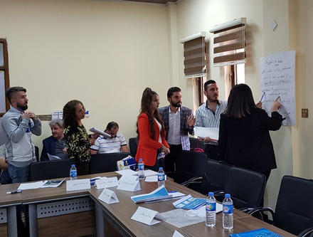 Community members in Tal Keif identify priority projects within the health sector during a workshop on participatory budgeting, Nov. 9, 2019.