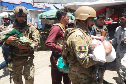 Afghan security forces respond to a terrorist attack at a Kabul maternity ward, May 2020. (Afghan Ministry of Defense)