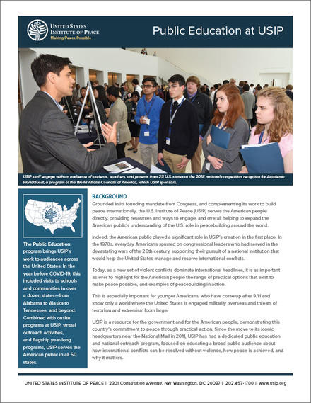 Public Education at USIP fact sheet cover