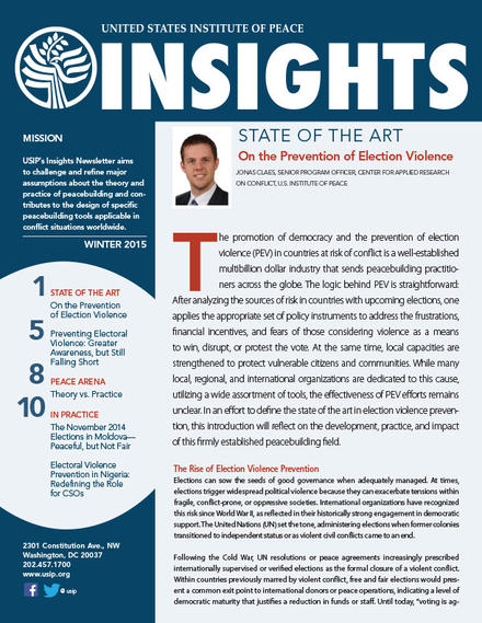 Winter 2015 Insights Newsletter – Preventing Election Violence