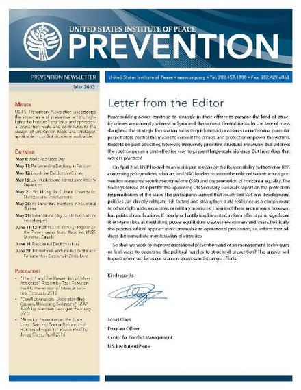 USIP Prevention Newsletter - May 2013
