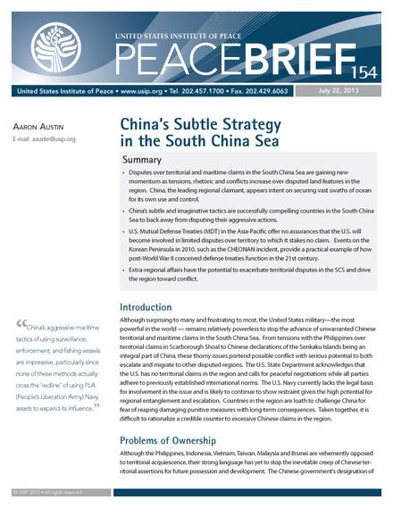 Peace Brief: China's Subtle Strategy in the South China Sea
