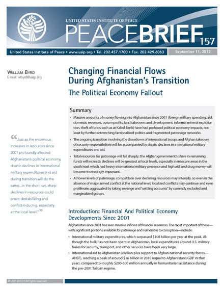 Peace Brief: Climate Changing Financial Flows During Afghanistan's Transition