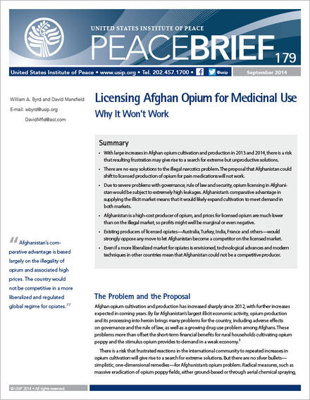 PeaceBrief: Licensing Afghan Opium for Medicinal Use