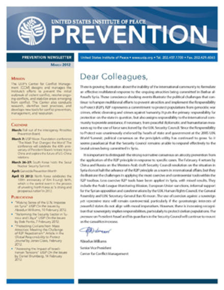 USIP Prevention Newsletter - March 2012