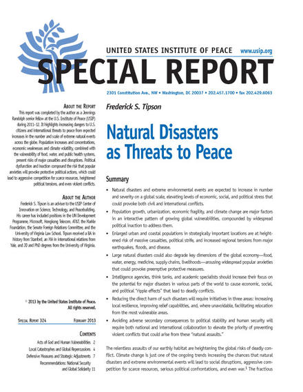Special Report: Natural Disasters as Threats to Peace