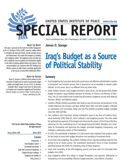 Special Report: Iraq's Budget as a Source of Political Stability