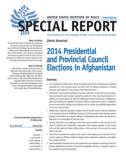 Special Report: 2014 Presidential and Provincial Council Elections in Afghanistan
