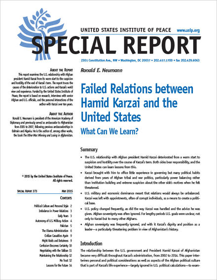 Special Report: Failed Relations between Hamid Karzai and the United States: What Can We Learn?