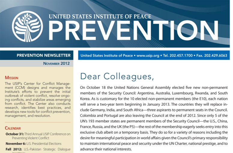 USIP Prevention Newsletter - November 2012