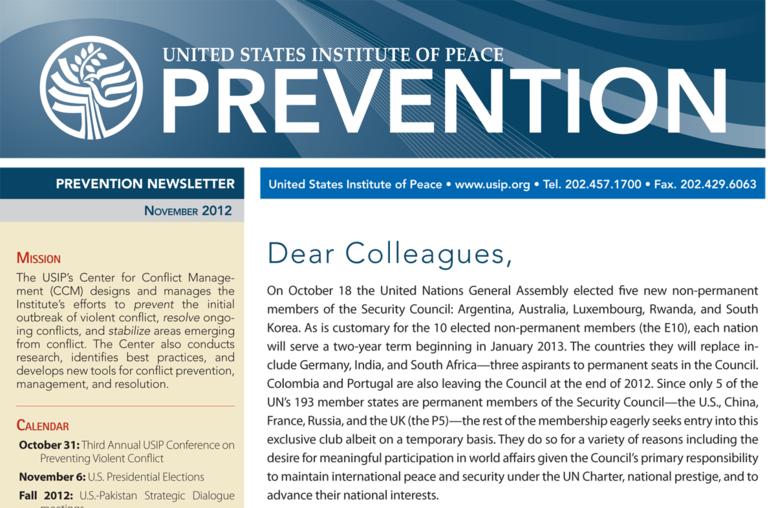 USIP Prevention Newsletter - November 2012