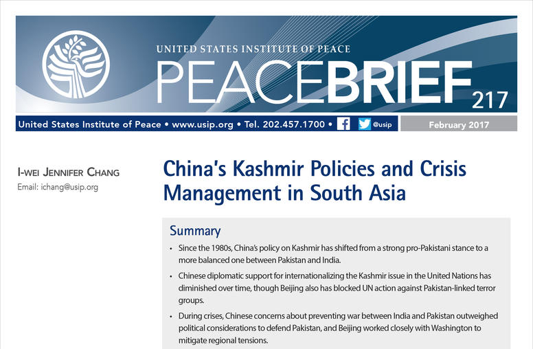 China's Kashmir Policies and Crisis Management in South Asia