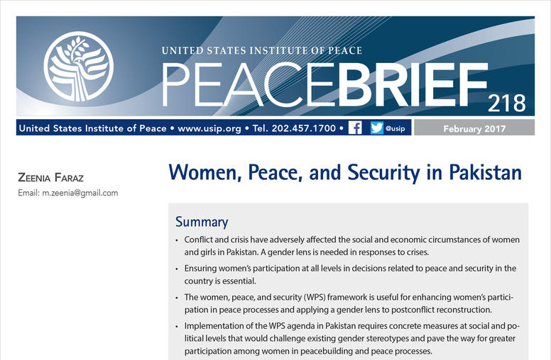 Women, Peace, and Security in Pakistan
