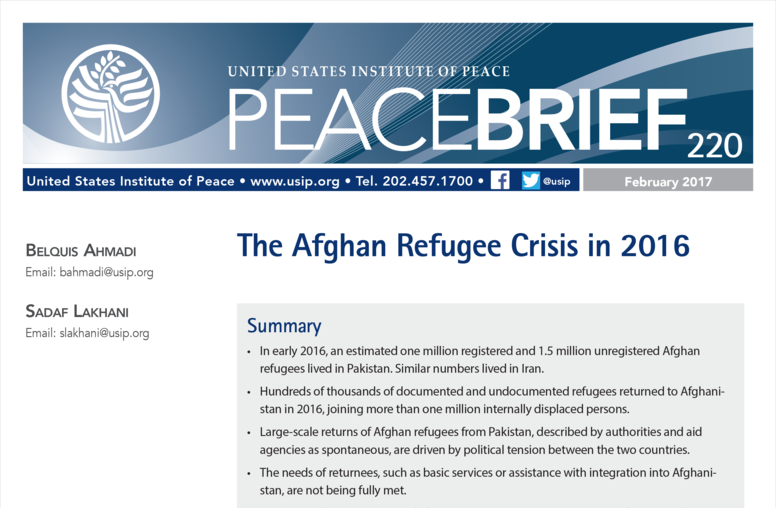 The Afghan Refugee Crisis in 2016