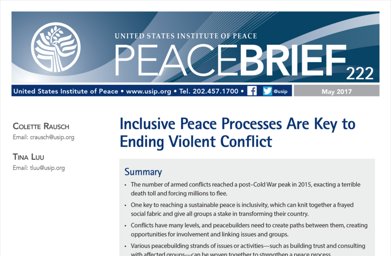 Inclusive Peace Processes Are Key to Ending Violent Conflict