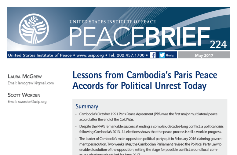 Lessons from Cambodia's Paris Peace Accords for Political Unrest Today
