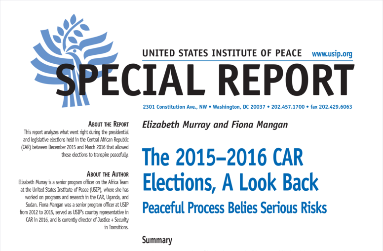 The 2015–2016 Central African Republic Elections, A Look Back