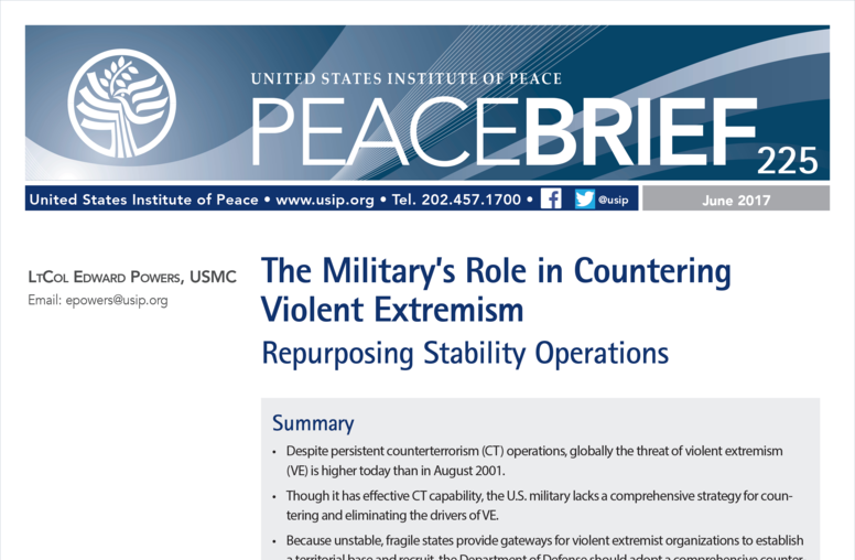 The Military's Role in Countering Violent Extremism