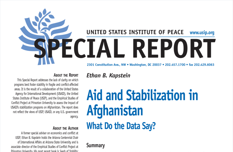 Aid and Stabilization in  Afghanistan